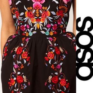 ASOS Black With Embroidery Wiggle Dress Sz. 6